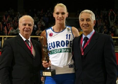 Maria Stepanova reçoit son prix de Joueuse FIBA