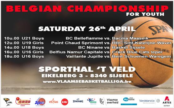 Les finales des champions chez les jeunes AWBB/VBL samedi à Sijsele