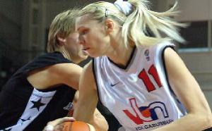 Maria Stepanova, joueuse FIBA Europe 2006 devant Ann Wauters