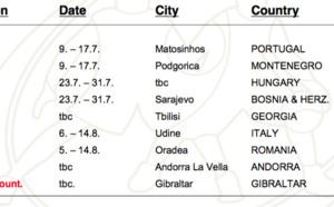 Les emplacements et les dates des Euros U20, U18 et U16B cet été